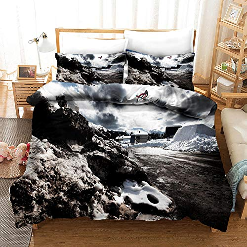 aakkjjzz Duvet Cover King Size Ultra Soft Bed Set with Zipper Closure 100% Polyester Quilt Cover and 2 Pieces Pillowcases Machine Washable Beautiful Scenery for Bedroom Daybed 230X220cm