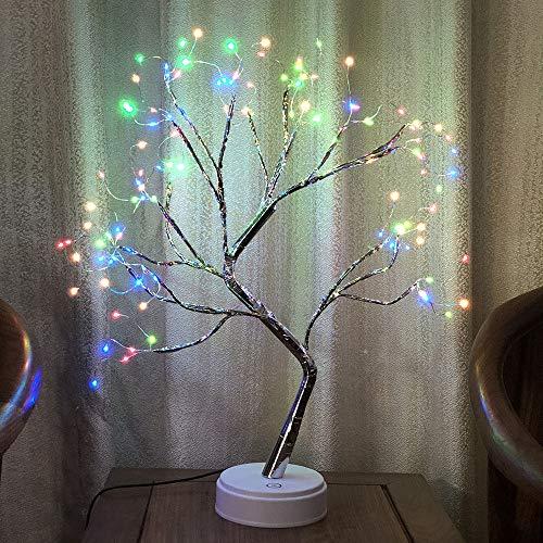 Mioloe 108 LED Árbol de ramita Cadena de Alambre de Cobre Luces de Hada Luz de Noche Decoración de jardín en casa (Colorful)