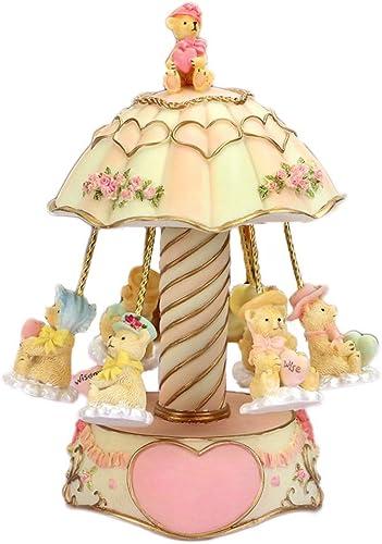 LILY-music box Manuelle Spieluhr Kreative Karussell-Spieluhr, Kreative Harz-Spieluhr mit Lichtschmuck Geburtstagsgeschenk zum Valentinstag Guter Sound