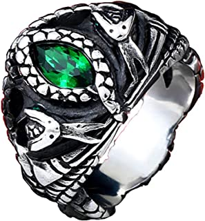 Mens Jewelry Stainless Steel Ring, Aragon's Green Gem Stone Snake Gothic Rings (10)