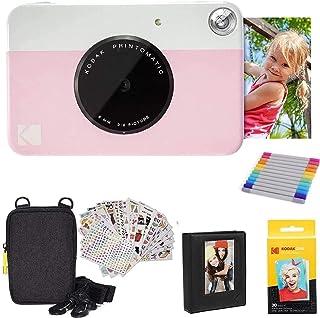 KODAK Printomatic Instant Camera (roze) geschenkbundel + Zink Papier (20 vellen) + Deluxe Case + 7 leuke stickersets + Twi...