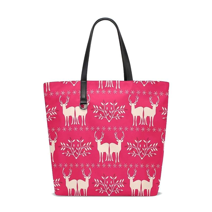 モールス信号ショッピングセンター攻撃的トートバッグ かばん ポリエステル+レザー 鹿柄 木ノ葉 紅 両面使える 大容量 通勤通学 メンズ レディース