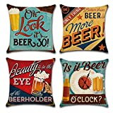 Gspirit 4 Pack Retro Cerveza Modelo Algodón Lino Throw Pillow Case Funda de Almohada para Cojín 45x45 cm