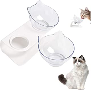 Cat Bowls, Cat Dishes 15° Tilted Raised Elevated Cat Bowls Double Pet Bowl Neck Protective Raised Cat Bowls Food Water 2 i...