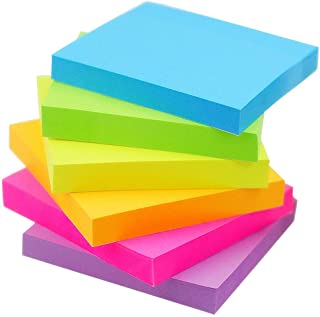 Early Buy Sticky Notes 6 Bright Color 6 Pads Self-Stick Notes 3 in * 3 in, 100 Sheets/Pad