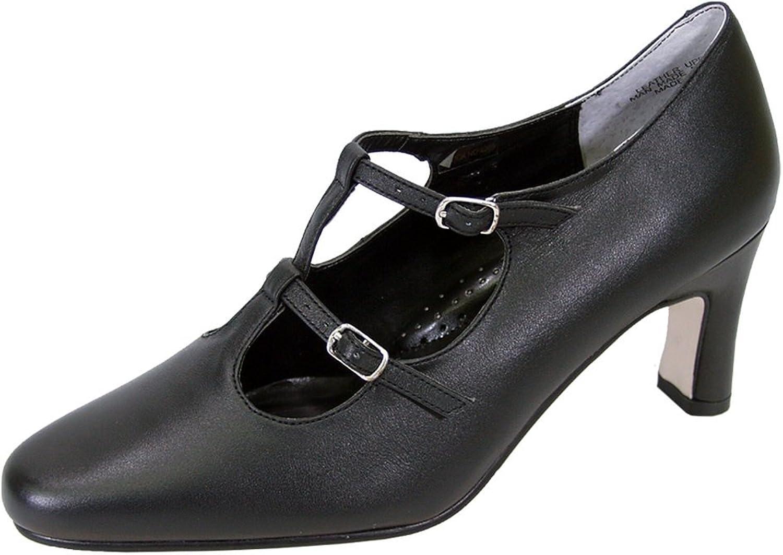 Peerage Helena Women Wide Width Leather T-Strap Double Buckles High Heel Pumps (Size Measurement)