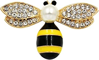 147221a2f ihuoshang Black or Red Wing Enameled and Crystal Rhinestones Insect Bee Brooch  Lapel Pins for Women