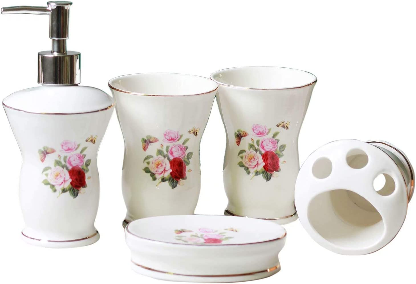 JruF Very popular! Round Pink Kansas City Mall and White Set of Bathroom 5 Set-Pink Accessories