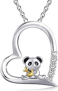 Cuoka Panda Necklace Panda Jewelry 925 Sterling Silver Bamboo Panda Bear Necklace for Women Animal Panda Lover Gift