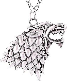 Legisdream Colgante de Collar Lobo Mitad de la casa Trono de Espadas Saga Stark de Juego de Tronos joyería de Plata Gift I...
