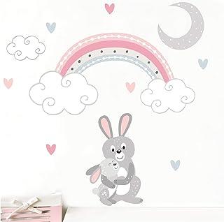 Little Deco Wandsticker Hasen mit Mond & Regenbogen
