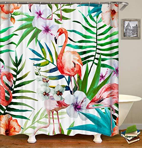ajhgfjgdhkmdg Blaues Grüngelb der weißen rosa Blumen des roten Flamingos verlässt auf dem weißen Hintergr& HD, der mühelosist, Duschvorhang zu löschen
