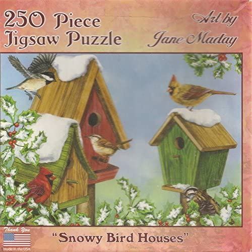 Jane Maday 250 Piece Jigsaw Puzzle - Snowy Bird Houses by Jane Maday