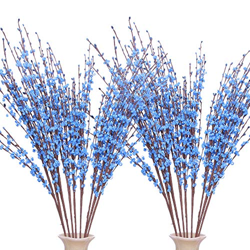Famibay Winter Jasmine Artificial Flowers 20 Pcs 29.5' Fake Flowers for Office Party Garden Home Decoration (Blue)