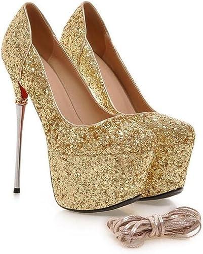 Femmes Chaussures Party Club Stiletto Talon Plate-forme Paillettes Glitter Glitter Cross Straps Taille 35 à 42  Découvrez le moins cher