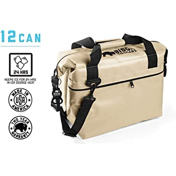 BISON COOLERS Soft Sided Insulated 12 Can Cooler Bag | Tear Proof Ice Chest for Beverages or Food | Includes 2 Year Warranty | Made in The USA