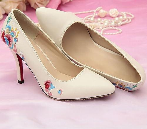 DHG Femmes Chaussures Printemps Modèles Hauts Talons Guangzhou Femmes Chaussures S Style Ethnique Dames Chaussures Bien avec la Marque Chaussures Brodées,Chamois,36