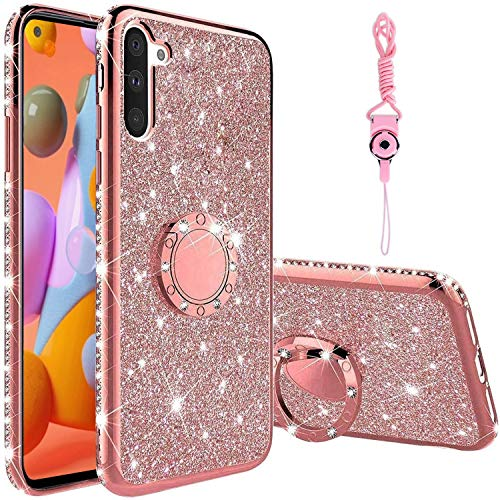 KUOGAS for Samsung Galaxy A11 Diamond Case, Cute Bling Glitter Rhinestone Crystal Shiny Sparkle Protective Cover with Electroplate Plating Bumper Luxury Fashion Case for Galaxy A11 (Rose Gold)