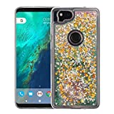 Google Pixel 2 Case - Liquid Quicksand Glitter Waterfall Hybrid TPU Gel Fusion Protective Cover Case - (Pink Stars) and Atom Cloth for Google Pixel 2