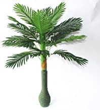 PETALSHUE- Plastic Artificial Large Silk Green Leaves Palm Tree with No Pot (100cm)