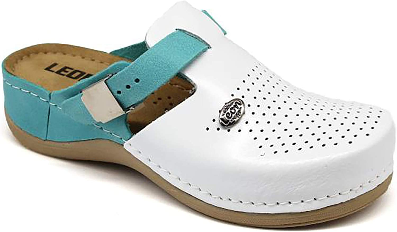 LEON 901 Zuecos Zapatillas Zapatos de Cuero Mujer