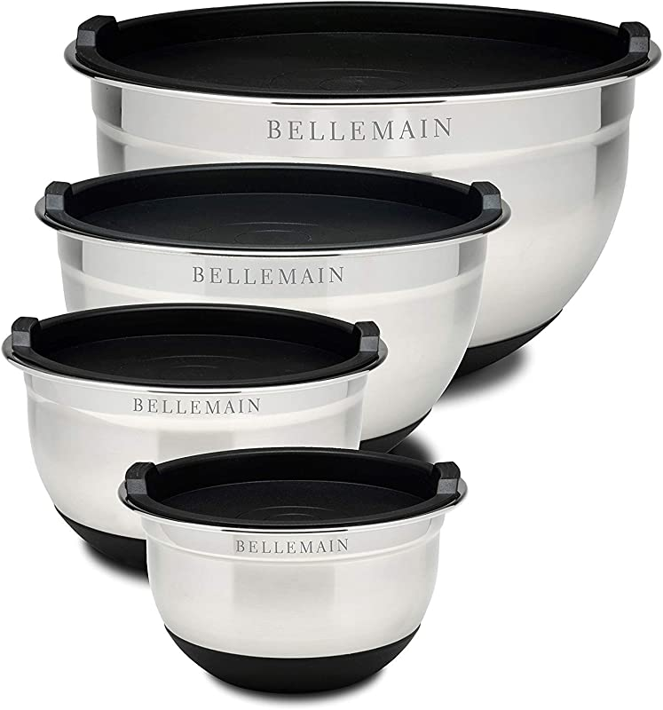 Top Rated Bellemain Stainless Steel Non Slip Mixing Bowls With Lids 4 Piece Set Includes 1 Qt 1 5 Qt 3 Qt 5 Qt