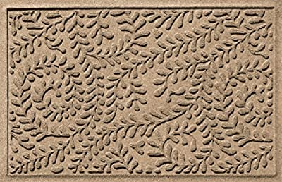 Bungalow Flooring Waterhog Doormat, 2' x 3' Made in USA, Durable and Decorative Floor Covering, Skid Resistant, Indoor/Outdoor, Water-Trapping, Boxwood Collection, Khaki/Camel