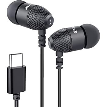 USB C Headphones, Adorer EM10 Bass in Ear Type C Headphones with Microphone and Volume Control, USB-C Earbuds for Google Pixel 4/3/2/XL, Samsung, Sony, LG, Motorola and USB-C Devices - Black