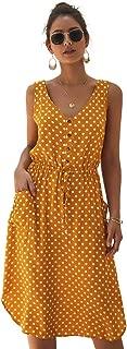 Eleter Women's Boho Polka Dot V Neck Sleeveless Side Split Button Drawstring Belt Summer Beach Dress with Pockets