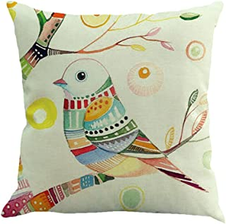 TOPBIGGER Branches Bird Linen Cushion Cover Throw Pillow Case Sofa Home Decor Flowers Cushion CoversThrow Pillow Covers 45cm x 45cm