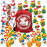 48 Christmas Rubber Ducks Bulk Variety Pack Assortment with 1 Special Delivery from the North Pole Drawstring Bag - Holiday Party Favors - Rubber Duckies Stocking Stuffer Novelty Toys for Kids