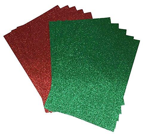 10x A4papel con purpurina verde y rojo brillante suave no cobertizo de grosor 150g/m², Navidad papel 5hojas de cada