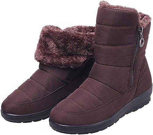 ZHRUI Bottes de Neige pour Femmes Chaussures imperméables en Coton antidérapant (Couleuré   Marron, Taille   40EU)