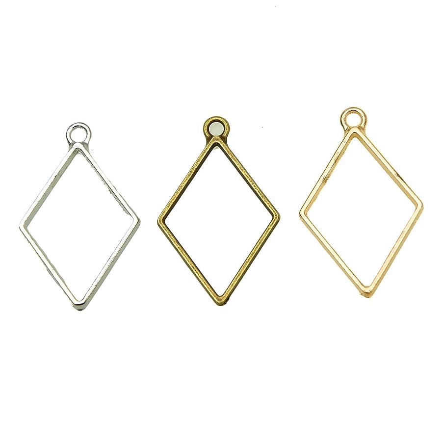 Monrocco 30Pcs 3 Color Geometric Open Back Bezel Pendant Frame Pendant for Resin Jewelry Making