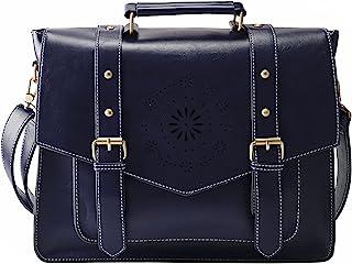 """ECOSUSI Umhängetasche Damen Vintage Laptoptasche 14.7"""" Schultertaschen Arbeitstasche Handtasche Blau"""