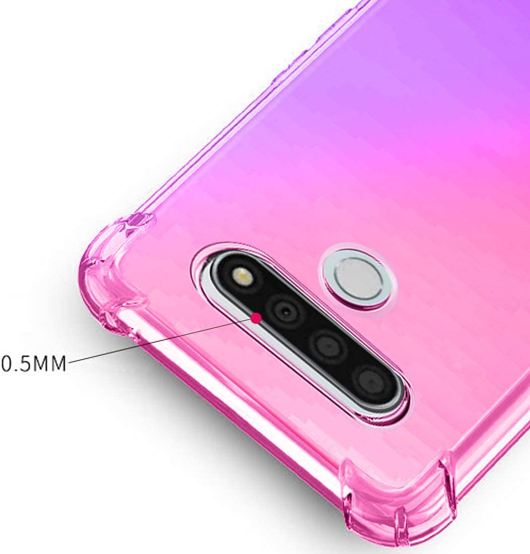 Osophter for LG Stylo 6 Case Clear Transparent Reinforced Corners TPU Shock-Absorption Flexible Cell Phone Cover for LG Stylo 6(Pink Purple)