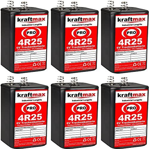 kraftmax 6er Pack 4R25 PRO - 6V Hochleistungs- Industrial Longlife Blockbatterie - 6 Volt Batterie Block - NEUSTE GENERATION 4R25X
