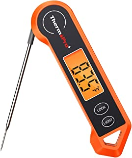 ThermoPro Digital Instant Read Meat Thermometer for Grilling Waterproof Kitchen Cooking Food Thermometer with Ambidextrous Backlit for BBQ Grill Smoker Oil Fry Candy Thermometer