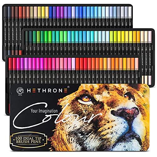 Hethrone 100 colores de doble pincel rotuladores de colores con punta fina de 0.016in y pincel de resaltador, marcadores para colorear para niños adultos para pintar letras