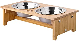 FOREYY Raised Pet Bowls for Cats and Small Dogs, Bamboo Elevated Dog Cat Food and Water Bowls Stand Feeder with 2 Stainles...
