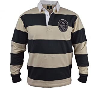 Guinness Cream and Black Striped Twill Patch Long Sleeve Rugby