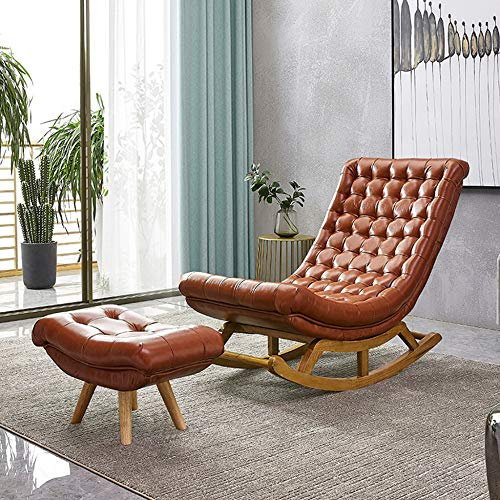 Vibration Lounge Chair, PU Soft Recliner and Ottoman, Sofa Reading Furniture, Marco de Madera Natural, para Porche, Patio, Sala de Estar, Porche (2 Estilos)