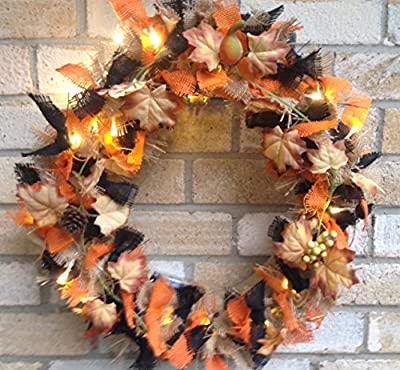 Prelit Classic Burlap Fall Wreath . Halloween. . Battery operated with switch