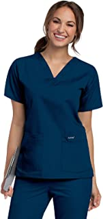 Women's Durable and Comfortable 4-Pocket V-Neck Scrub Top Shirt