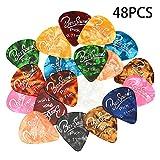 BSmusic sortierte Perlmutt-Zelluloid Gitarren-Plektren für elektrische, akustische oder Bass-Gitarre Medium Sized (0.71mm) 48 Pack