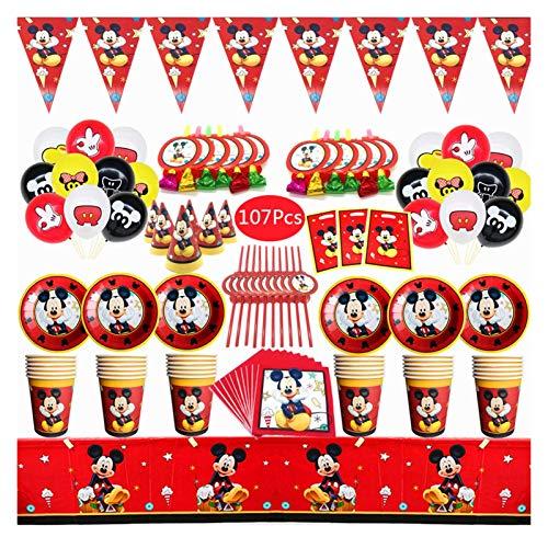 Stoviglie per Feste Quadro a tema Forniture per stoviglie monouso Set tazza piastra tovagliolo paglia palloncini Buon compleanno Decorazione preferita del bambino ( Color : Mickey Mouse 107PCS )