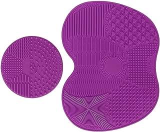 Makeup Brush Cleaning Mat, ESARORA Makeup Brush Cleaner Pad Set of 2 Cosmetic Brush Cleaning Mat Portable Washing Tool Scrubber Suction Cup (Light Purle)