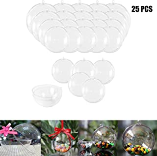 Haawooky 25 Sets Clear Fillable Ornaments Ball in 5 Different Size,DIY Plastic Acrylic Fillable Ball for Party Decor