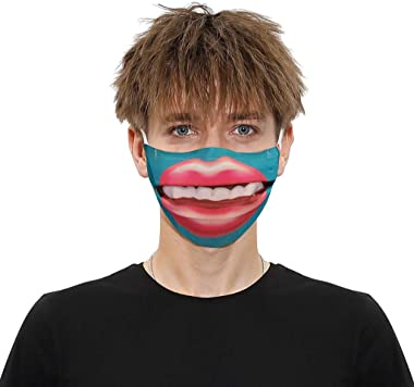 StyleV Funny Face Cover Reusable- 1PC Washable Big Mouth Printed Face Sheild Breathable Bandana Neck Gaiter Men