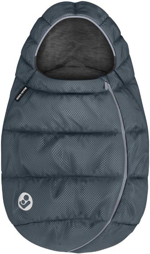 Maxi-Cosi saco para Silla coche Grupo 0+ bebé recién nacido, forrado con felpa y acolchado, mantiene el bebé calido y protigido, color Essential Graphite (Gris Oscuro)